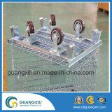 4개의 바퀴로 Foldable와 쌓을수 있는 철사 콘테이너를 도금하는 아연