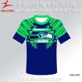 青いカラーブランクのスポーツ・ウェアの人の安いワイシャツデザイン