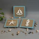 Decorazione della Tabella del Seashell di Polyresin dell'annata con la base di legno