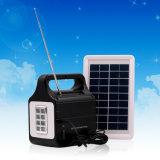 Éclairage portatif du système d'alimentation solaire DEL avec USB/TF