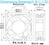 Hoher Luft-Widerstand Gleichstrom-Kühlventilator, 6025, für Hochtemperaturumgebung
