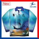 De goedkope Douane ontwerpt Uw Eigen Sublimatie Vissend de Lange Overhemden van Kokers Mens