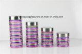 4 PC Spray Colors Glass Stoeage Jar Set