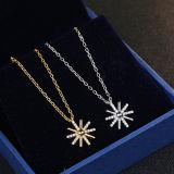 Collar pendiente Sun-Shaped de la plata esterlina de la manera 925 de las mujeres