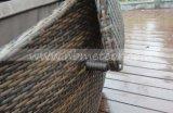 Mtc332庭の柳細工の屋外のテラスの藤の家具の寝台兼用の長椅子