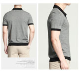 Grey Short Sleeves Business Pique Men Polo