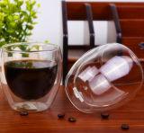 LFGB, FDA, taza de cristal doble de la taza de café de la pared del SGS con la tapa de bambú