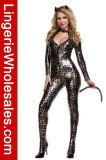 Bodysuit фронта застежки -молнии взгляда Halloween сексуальный замаскированный Catwoman женщин влажный