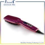Les fers de peigne de redresseur de cheveu de balai viennent avec le peigne électrique de cheveu droit d'écran LCD