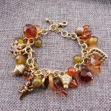 De goud Geplateerde Armbanden van de Charme van de Sneeuwvlok van de Ster van de Cupido AcrylHart vijf-Gerichte