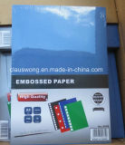papier 200GSM gravé en relief par couleur bleue