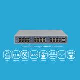24 interruptores portuarios del Poe del revés con gigabit del acceso del Uplink de 2 fibras
