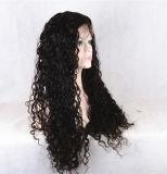 Парик женщин полных человеческих волос черноты шнурка Kinky курчавый
