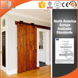 Porta interior do celeiro da madeira contínua da casa de campo de America/USA, porta de levantamento da roda, porta deslizante com trilha superior