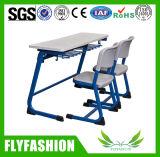 Mesa e cadeira populares baratas do dobro da mobília da sala de aula para o estudante