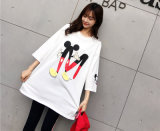 Graphic Cartoon Graphic All-Match Relaxe Cutey Floral Students Long T-Shirt