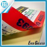 Círculo rojo de doble cara etiqueta con caracteres ingleses y Números