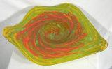 Boca Blown Orange Glass Plate para Wall Decoration Table Display (YK-P150)
