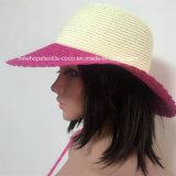 100% de papel Sombrero de paja, Moda Contraste Col con estilo de la manera que teje