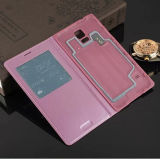 High Quality Auto Sleeping Model PU Flip Cover O-Ring Chip Leather Case for Samsung Galaxy S5 I9600