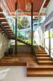 Mono Stringer, acero y vidrio Escalera flotante Escalera en voladizo de cristal Escalera