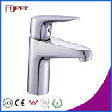 Le chrome de Fyeer a poli le taraud de mélangeur simple simple de l'eau de robinet de bassin de bassin de lavage de salle de bains de Handle&Hole