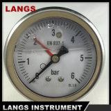 064 63mmの液体によって満たされる圧力計OEM (赤い警告のポインターと)