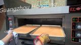 El profesional del equipo del abastecimiento trabaja a máquina el horno de la cubierta del gas con la bandeja doble