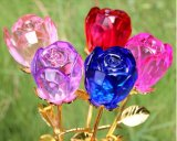 Venta caliente Crystal artesanía flor de Rose de cristal