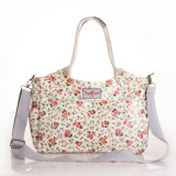 Blanco Impermeable PVC Lienzo Floral Patrones bolso para la Mujer