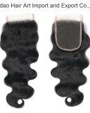 Fechamento natural da parte superior do cabelo da onda do corpo do Virgin de uma cor de 18 polegadas