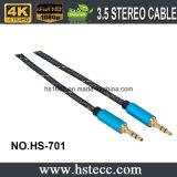 Varón estéreo de nylon de Bradied al cable auxiliar masculino Gato audio 3.5m m a cable aux. de Gato 3.5m m