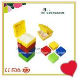Cadre carré japonais de pillule de conteneurs en plastique de produits de beauté de compartiments de Lego 4 de jouet de synthons de couleur de sucrerie