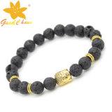 Популярные черные камни лавы цвета Lvb-16112812 и браслет части металла цвета золота с диамантами
