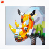 Peinture à l'huile fabriquée à la main de rhinocéros de Clolourful