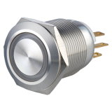 commutateur de bouton poussoir momentané lumineux par boucle de véhicule électrique en métal 1no1nc de 19mm