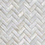 Azulejo de mosaico blanco puro del rectángulo de la cara 10*20m m del arco del shell de agua dulce
