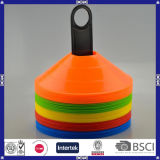 Logotipo colorido cones plásticos impressos do treinamento do futebol