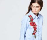 2017 preiswerter China-Großhandels-Kleidungs-Dame-Streifen-Stickerei-Blusen-Frauen-langer Hülsen-Massensprung-neue Entwurfnormal-Bluse
