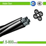Cable triple del ABC - cable liado aéreo del Al Conductor/PE/XLPE/AAC/AAAC/ACSR