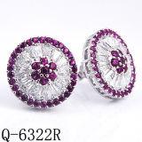 Ювелирные изделия фантазии 925 серег серебряных ювелирных изделий малых рубиновых нажимают назад