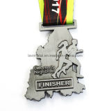 Medalla suave del deporte de la acabadora de la corrida del esmalte del hexágono de la plata de encargo de la antigüedad