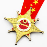 Medaglia in lega di zinco su ordinazione poco costosa del ricordo dell'oro di sport del metallo del premio di funzionamento di maratona dello smalto del fornitore della Cina nessun ordine minimo
