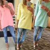 tissu de femmes de dessus de chemise de la chemise 3/4 de la mode des femmes occasionnelles de tuniques de plage femelle des dames 1PCS long