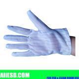 guantes estáticos antis revestidos de la PU de la tira de 10m m