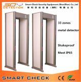 33 Zonas a pie a través del detector de metales a través de puerta de alarma