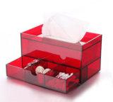 De rode AcrylDoos van het Weefsel met de Kosmetische Lade van de Opslag