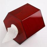 De unieke Doos van het Weefsel van de Stijl Rode Acryl Hexagon