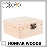 DIY inacabado caixa de jóias de madeira cru caixa de madeira