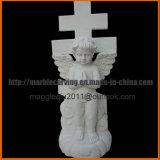 Piedra sepulcral del ángel para el cementerio con la cruz que talla mm1733
